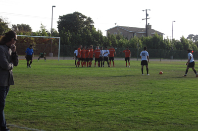 Lassen College soccer coach Ben Wade watches as the Cougars take on Rio Hondo