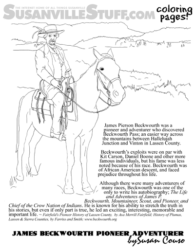 Coloring susanville james beckwourth pioneer adventurer for Daniel boone coloring pages