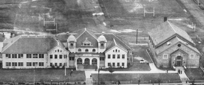An aerial view of Lassen High School in the early 1940's