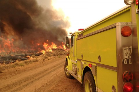 Rush fire burns through sagebrush and grass - BLM Photo