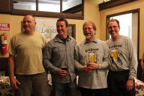 Winners Jon Mossinger, Rob Kohrt, Greg BoomerBrazilian and Dustin Osborn stop to bask in the glory of placing in the first Home Brewers' Competition
