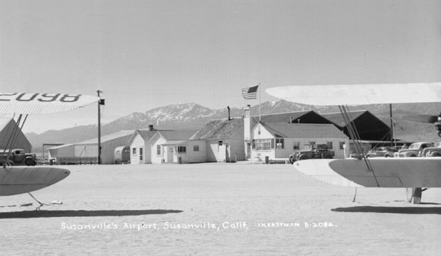 The Susanville Airport in 1942 from an Eastman Studios postcard