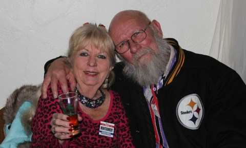 Taste of Beef, Sip of Wine ticket winner Hazel Bomer and a guest at Friday night's fundraiser.