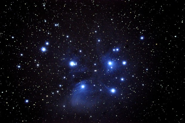 Dr. Bateson's photo of the Pleiades star cluster, around 120 parsecs from Earth.
