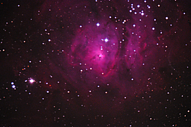 The Lagoon Nebula as captured by Dr. Bateson's telescope,