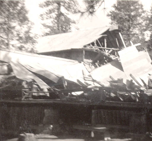 The collapsed remains of the boy scout camp at Butte Meadows in the late 1930's