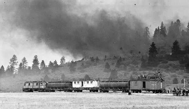 Red River Lumber's fire train and crew in 1936