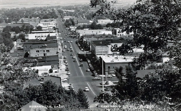 Susanville from Inspiration Point in the early 1950's. From an Eastman Studios Postcard.