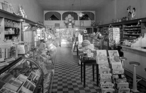 Bryant's Drug Store in the late 1930's from an Eastman Studio Photo