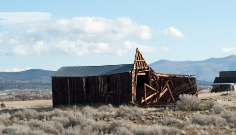 Several historic barns where flattened by the winds on Friday. This barn along Richmond Road has long been a local landmark.
