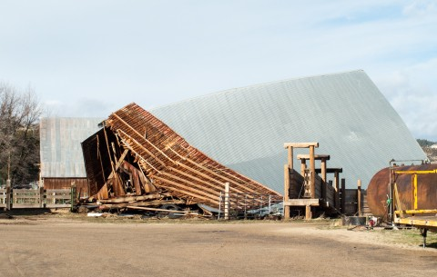 At the Pyle Ranch off of Richmond Road one barn and several outbuildings were completely destroyed by the power wind gusts.