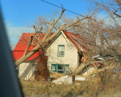 Tanya's photo of a home in Standish damaged by a falling tree.