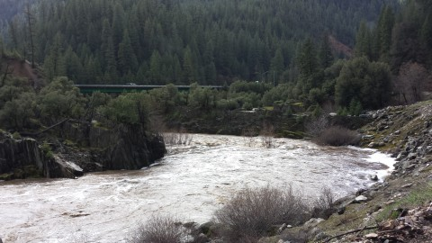 On Highway 70, near the Greenville Wye, Tory captured this photos of a fierce Feather River.