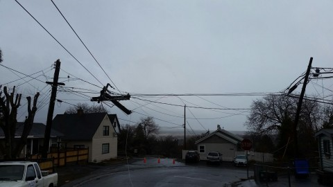 Adam sent us this photo of power line damage on North Pine street.