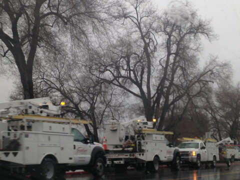 Frontier Communications crews and trucks were out in force during the storm. Thanks to Diana for the photo.