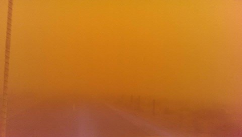 Jessica sent us these scary photos that her husband took on the way to work near Wendel. Visibility was zero for most of the morning because of a combination of smoke from an early morning vegetation fire and alkali dust blowing off of Honey Lake.