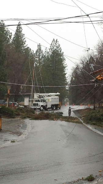 What a mess! LMUD crews work to repair storm damage in these photos by Lisa.