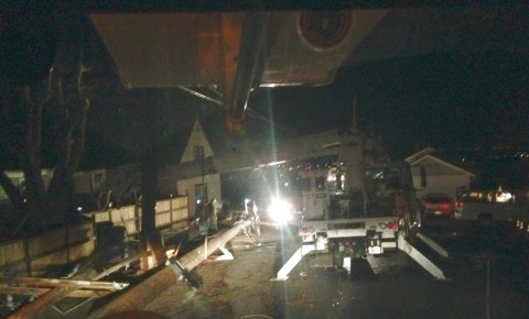 An LMUD photo of overnight repairs on North Pine Street.