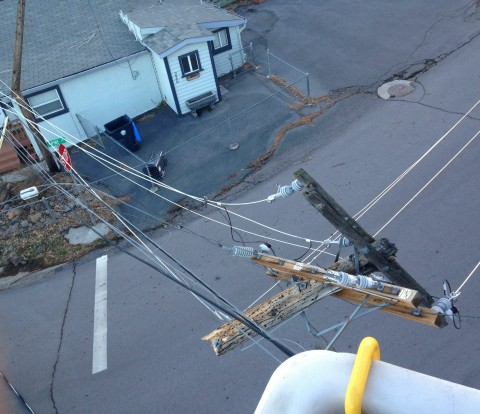 The view from above as an LMUD lineman makes repairs.