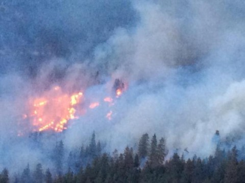 The Ward Fire burning in the Genesee Valley near Taylorsville in Plumas County