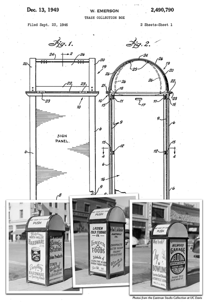 Wes Emerson's design for trash collection boxes with advertising for local businesses