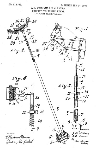 Keeping a horse's head in the proper position was easier using this device according to the 1906 patent application