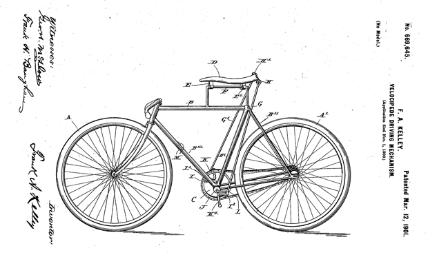 Frank Kelley invented this velocipede powered by the rider continuously standing and sitting