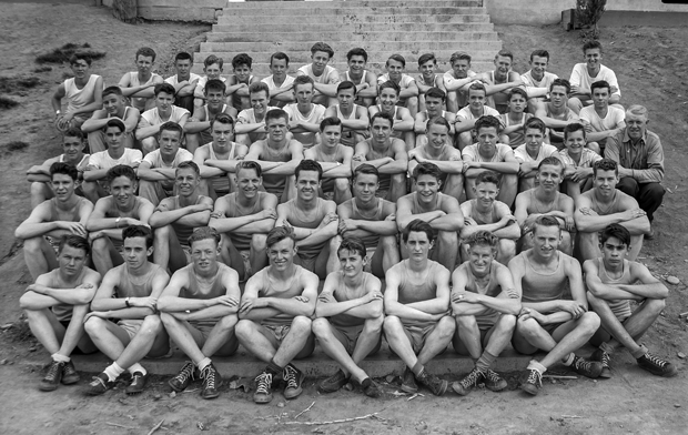 A Lassen High track and field team in an Eastman Studios photo from the early 1940's