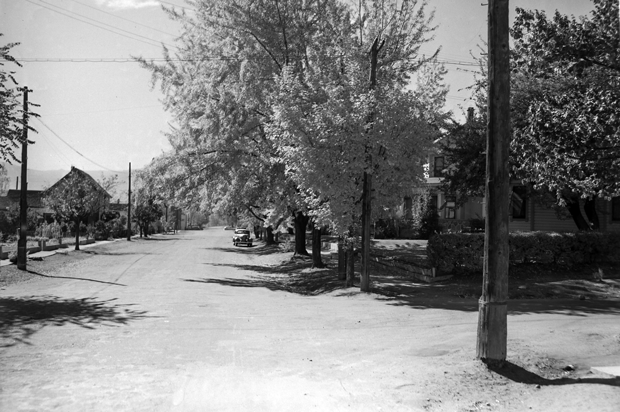 The intersection of North and Roop streets in 1941 from an Eastman Studios photo