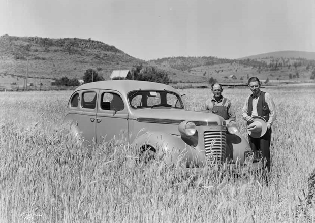 Unidentified men in a field just east of Susan Hills in 1937. ~Courtesy of UC Davis, Special Collections