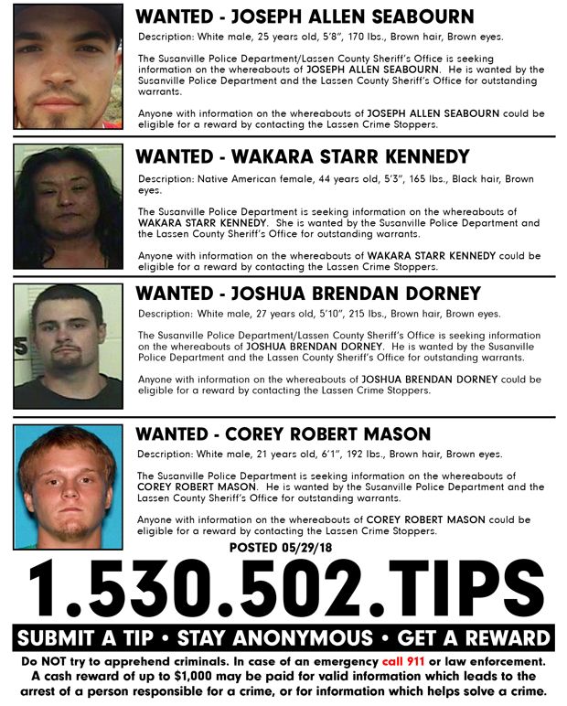 Lassen Crime Stoppers Weekly Update for May 29th, 2018