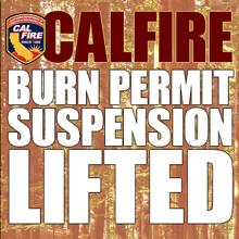 CALFIRE burn permit suspended