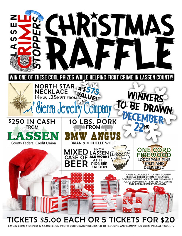 support lassen crime stoppers with christmas raffle fundraiser