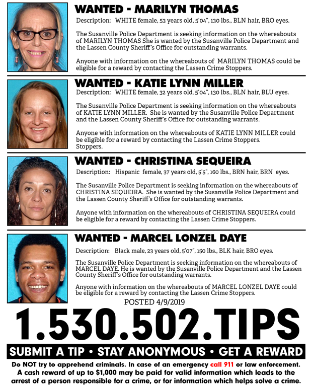 Lassen Crime Stoppers Weekly Update for April 9th, 2019