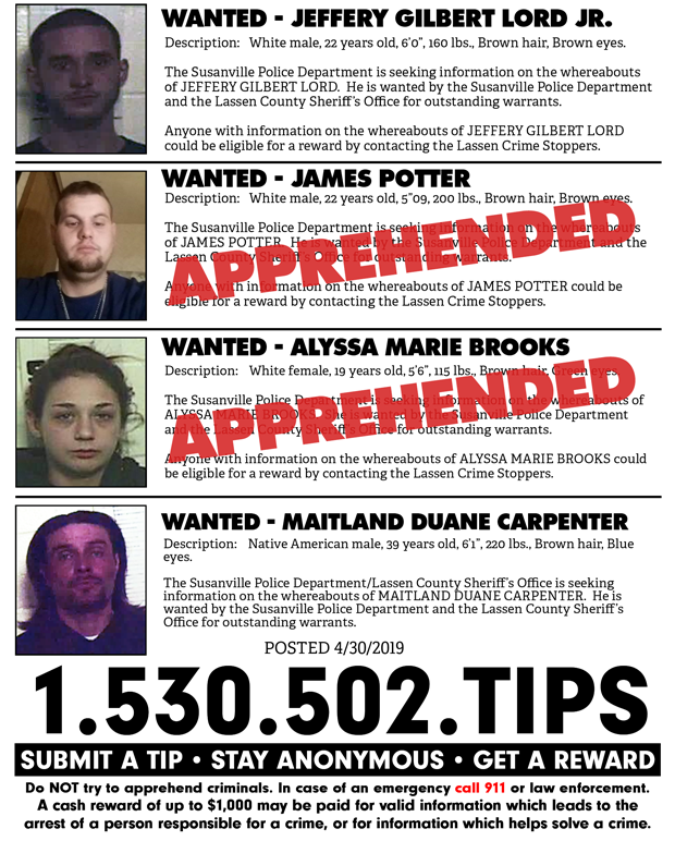 Lassen Crime Stoppers Weekly Update for April 30th, 2019