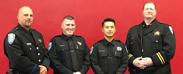Sgt. Alan Sobol, KC Capron, Nou Xiong and Chief Kevin Jones